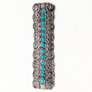 VTG Native American Sterling & Turquoise Brooch